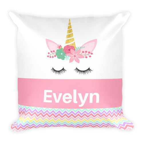 Personalized Unicorn Pillow, Pink