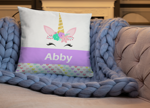 Personalized Unicorn Pillow, Purple
