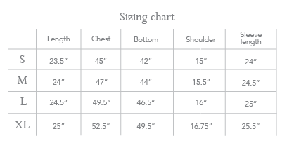 Freebird Sizing chart