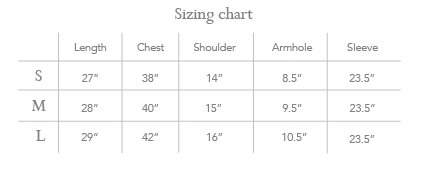 Sizing chart - Sheer shoulder shirt (Blue, ivory)