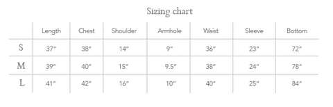 Sizing chart - Swing Dress (Ikat)