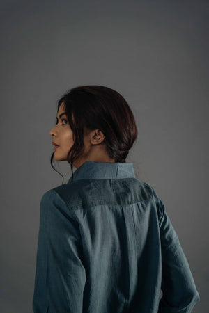 Sheer Shoulder Shirt - Blue Grey