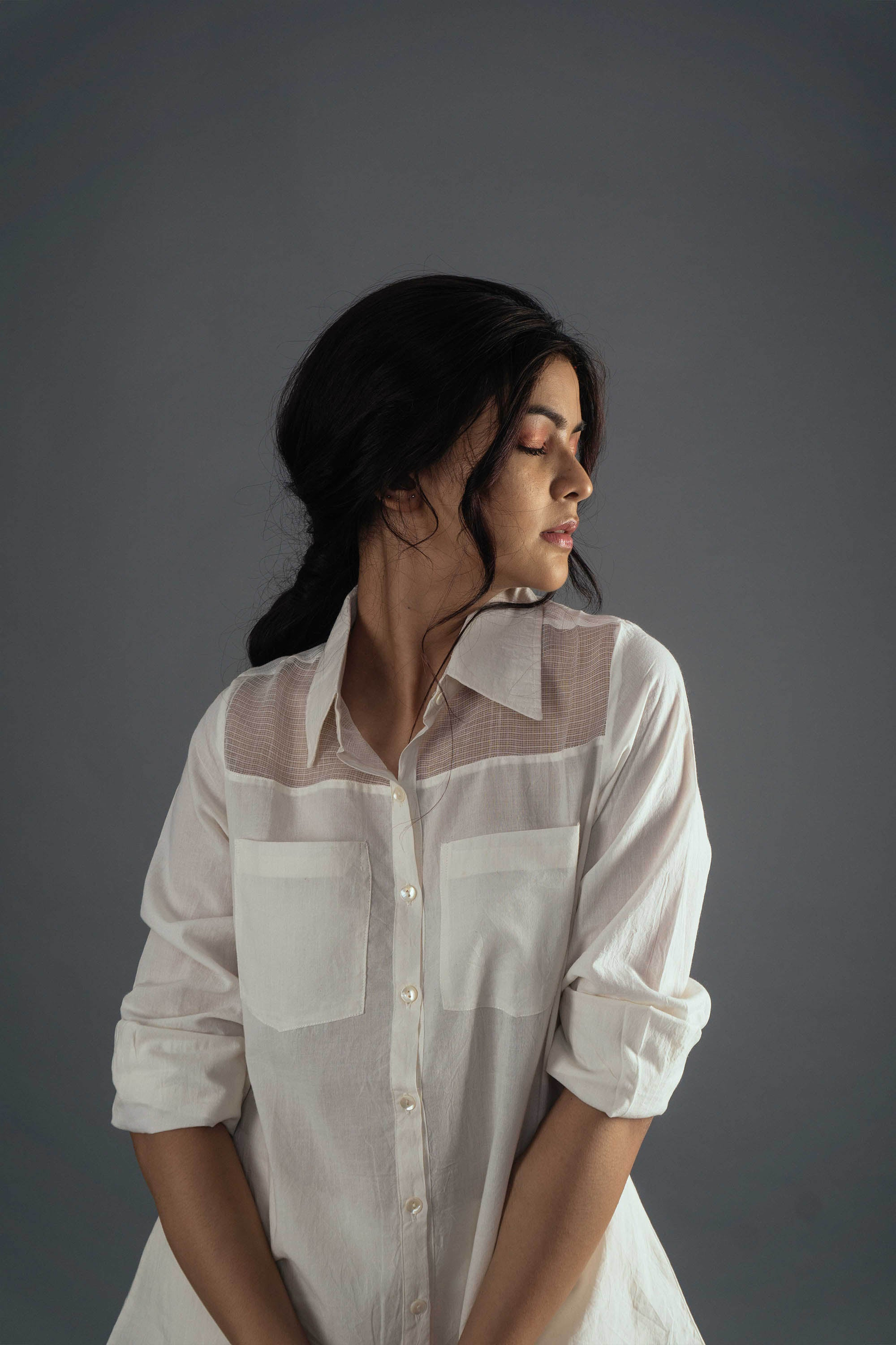 Sheer Shoulder Shirt - Ivory
