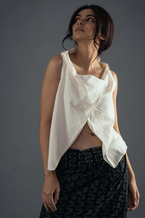 Wrap neck top - Ivory