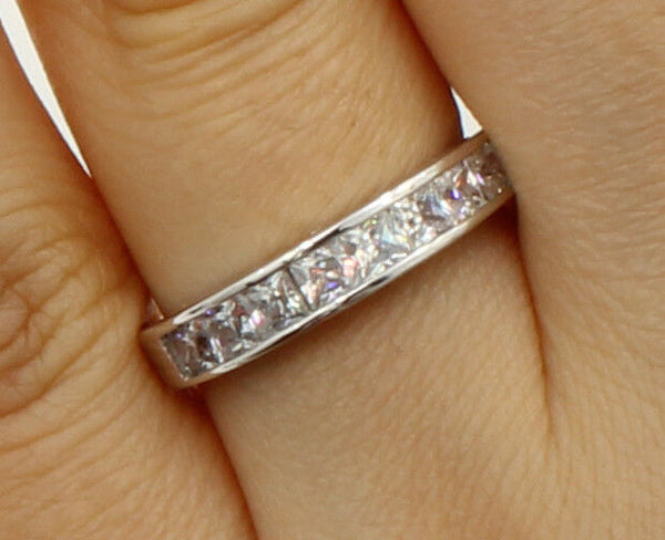 0.75 Ct 14K Real White Gold Square Princess Cut Wedding Anniversary Ring Band