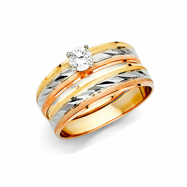 14K Real Yellow Rose White Gold 3Color Wedding Band Trio 3 Ring Set Light Weight