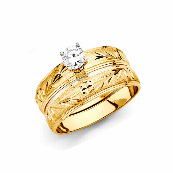 14K Real Yellow Gold Wedding Band Trio 3 Ring Set Light Weight Men Women