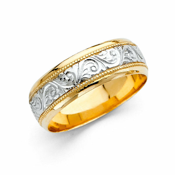 14K Real Yellow Gold Fancy Design Two Tone Wedding Band 2 Ring Set Men Women 7mm