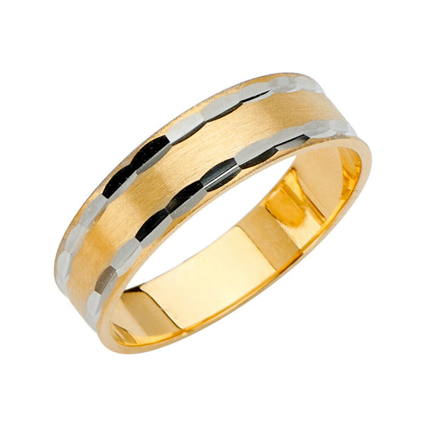 14K Solid Real Yellow Gold Diamond Cut 2 Ring Wedding Band Set Men Women 6mm