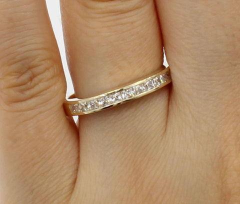 0.50 Ct 14K Real Yellow Gold Square Princess Cut Wedding Anniversary Ring Band