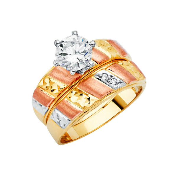 14K Solid Real Yellow Gold 3 Color Fancy Wedding Band Trio 3 Ring Set Men Women