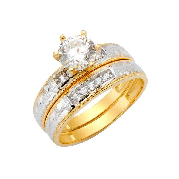 14K Solid Real Yellow Gold Two Tone Fancy Wedding Band Trio 3 Ring Set Men Women