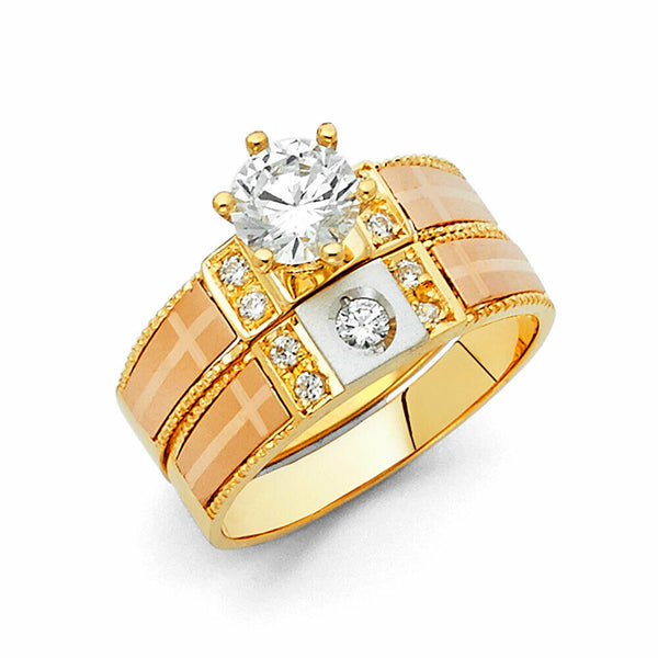 14K Real Yellow Gold 3 Color Fancy Cross Wedding Band Trio 3 Ring Set Men Women