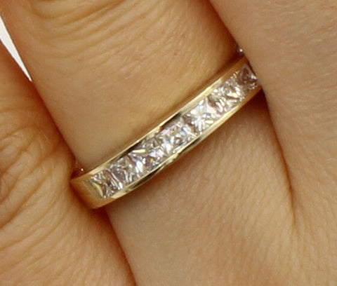 0.75 Ct 14K Real Yellow Gold Square Princess Cut Wedding Anniversary Ring Band