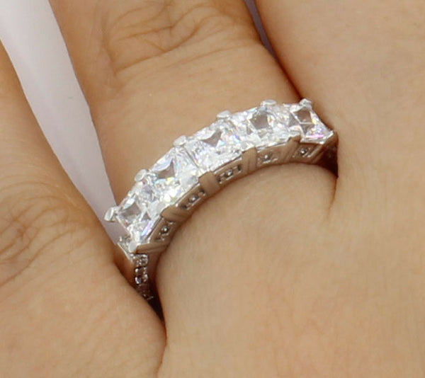 2 Ct 14K White Gold 5 Stones Square Princess Cut Wedding Anniversary Ring Band
