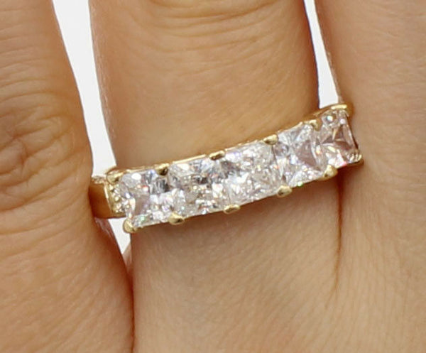 2 Ct 14K Yellow Gold 5 Stones Square Princess Cut Wedding Anniversary Ring Band