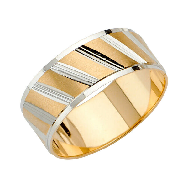 14K Solid Real Yellow Gold 2 Tone Dia Cut 2 Ring Wedding Band Set Men Women 8mm