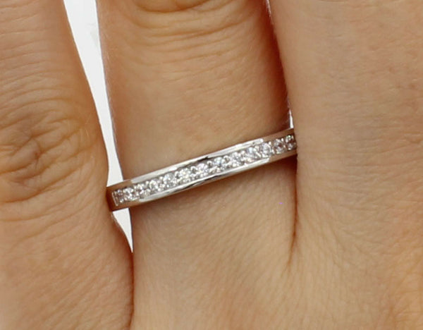 14K Real White Gold Round Cut Pave Set Bridal Wedding Anniversary Ring Band