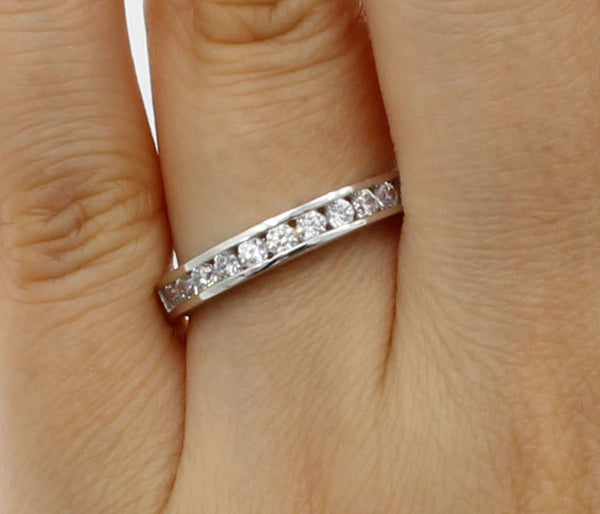 0.50 Ct 14K Real White Gold Round Cut Channel Set Wedding Anniversary Ring Band