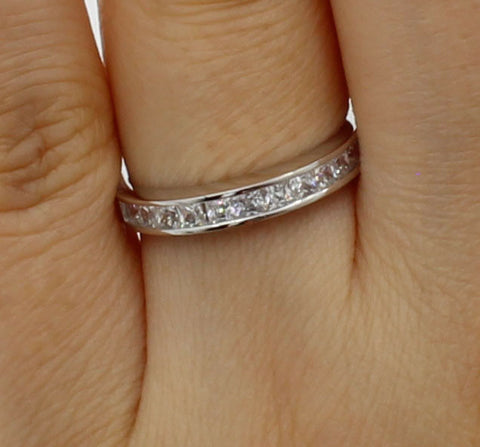 0.50 Ct 14K Real White Gold Square Princess Cut Wedding Anniversary Ring Band