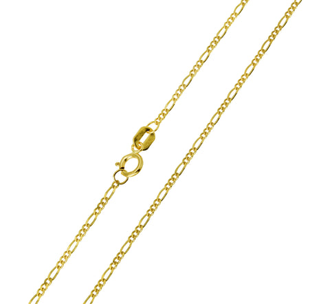 14K Real Yellow Gold Figaro 3+1 Light Thin Chain Necklace 1.2mm Width for Baby, Children & Women