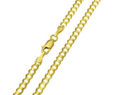 14K Real Yellow Gold Curb Cuban Chain Necklace 3.5mm Width for Women & Men