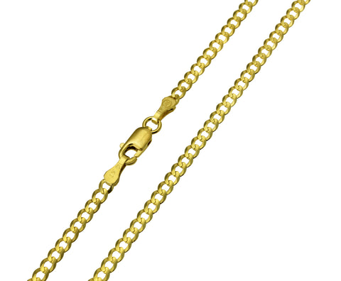 14K Real Yellow Gold Curb Cuban Chain Necklace 2.7mm Width for Children & Women