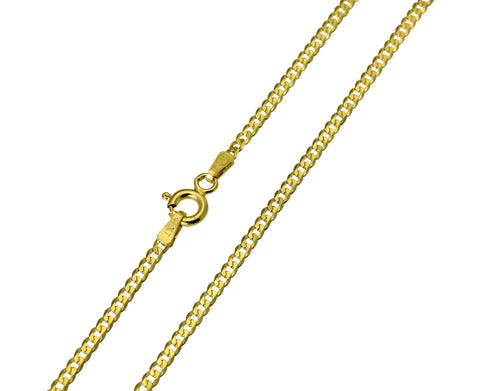 14K Real Yellow Gold Curb Cuban Chain Necklace 2.0mm Width for Children & Women
