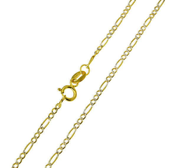 14K Real Yellow Gold Figaro 3+1 Two Tone White Pave Light Thin Chain Necklace 1.7mm Width for Baby, Children & Women