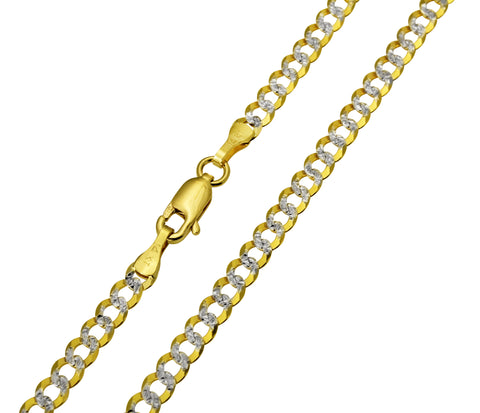 14K Real Yellow Gold Curb Cuban Two Tone White Pave Diamond Cut Chain Necklace 3.5mm Width for Women & Men