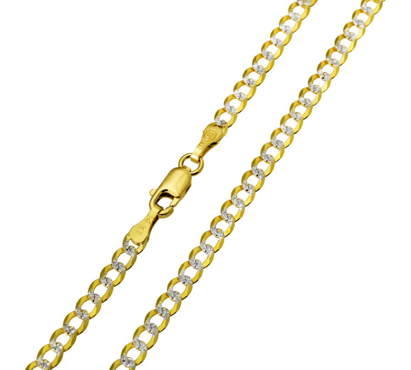 14K Real Yellow Gold Curb Cuban Two Tone White Pave Diamond Cut Chain Necklace 3.0mm Width for Children, Women & Men