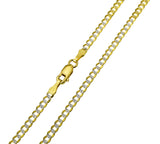 14K Real Yellow Gold Curb Cuban Two Tone White Pave Diamond Cut Chain Necklace 2.7mm Width for Children & Women