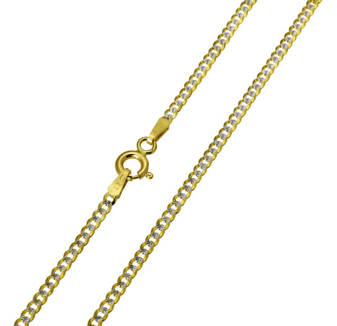14K Real Yellow Gold Curb Cuban Two Tone White Pave Diamond Cut Chain Necklace 2.0mm Width for Children & Women