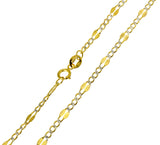 14K Real Yellow Gold Stamped Figaro 3+1 Two Tone White Pave Chain Necklace 3.0mm Width Children & Women