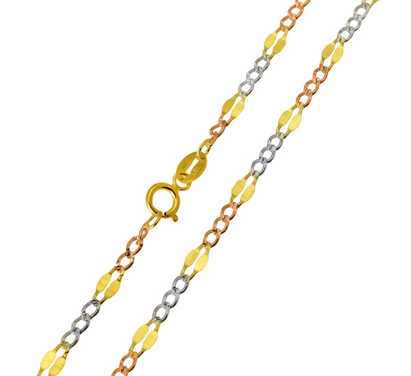 14K Real White Gold Classic Rolo Cable Chain Necklace 1.1mm Width for Women
