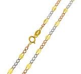14K Real 3 Color Yellow White Rose Gold Stamped Figaro 3+1 Chain Necklace 3.0mm Width