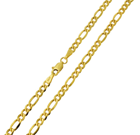 14K Real Yellow Gold Figaro 3+1 Hollow Chain Necklace 3.2mm Width for Children & Women