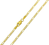 14K Real Yellow Gold Figaro 3+1 Hollow Chain Necklace 1.9mm Width for Baby, Children & Women