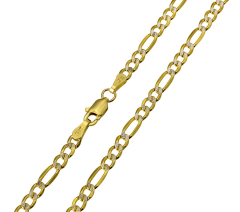 14K Real Yellow Gold Figaro 3+1 Two Tone White Pave Hollow Chain Necklace 3.0mm Width for Children, Women & Men