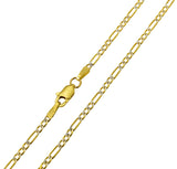 14K Real Yellow Gold Figaro 3+1 Two Tone White Pave Hollow Chain Necklace 1.9mm Width for Baby, Children & Women