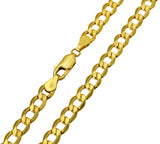 14K Real Yellow Gold Curb Cuban Hollow Chain Necklace 5.0mm Width for Women & Men