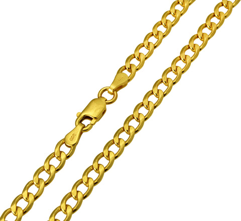 14K Real Yellow Gold Curb Cuban Hollow Chain Necklace 4.2mm Width for Women & Men