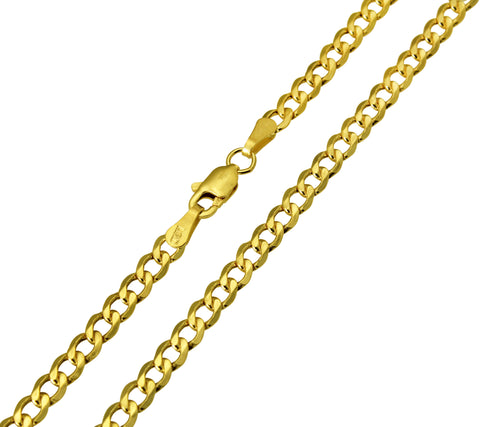 14K Real Yellow Gold Curb Cuban Hollow Chain Necklace 3.4mm Width for Children & Women