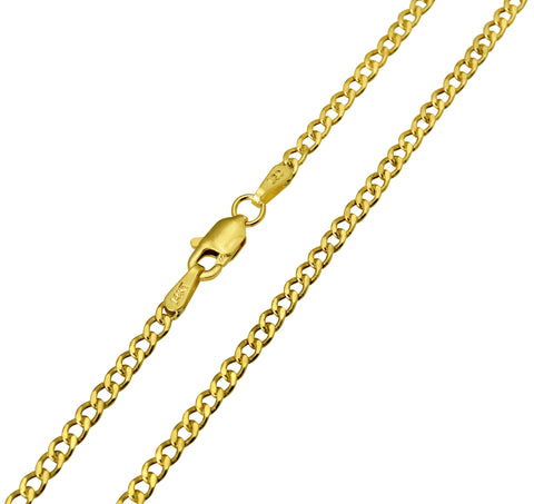 14K Real Yellow Gold Curb Cuban Hollow Chain Necklace 2.3mm Width for Children & Women