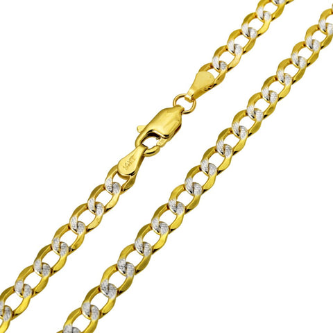 14K Real Yellow Gold Curb Cuban Two Tone White Pave Hollow Chain Necklace 3.4mm for Children & Women