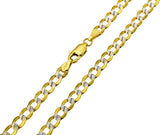 14K Real Yellow Gold Curb Cuban Two Tone White Pave Hollow Chain Necklace 4.2mm Width for Women & Men