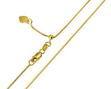 "14K Real Yellow Gold Box Link Adjustable Chain Necklace 0.8mm Width 20"" Inches for Women"