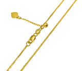 "14K Real Yellow Gold Square Wheat Adjustable Chain Necklace 0.7mm Width 20"" Inches for Women"