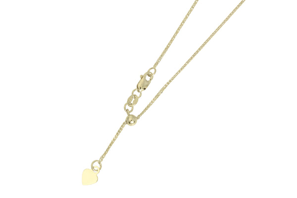 "14K Real White Gold Square Wheat Adjustable Chain Necklace 0.7mm Width 20"" Inches for Women"