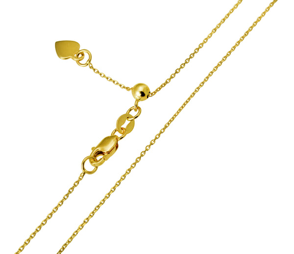 "14K Real Yellow Gold Cable Adjustable Light Thin Chain Necklace 0.9mm Width 20"" Inches for Women"